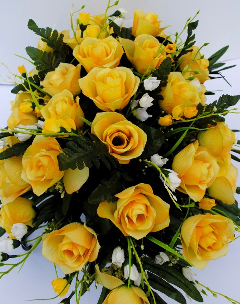 Yellow-Rose-with-White-Accent-Flowers-Cemetery-Saddle-Arrangement-for-Headstone-Decoration