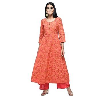 Zoeyams Womens Red Cotton Block Printed Long Anarkali Kurta