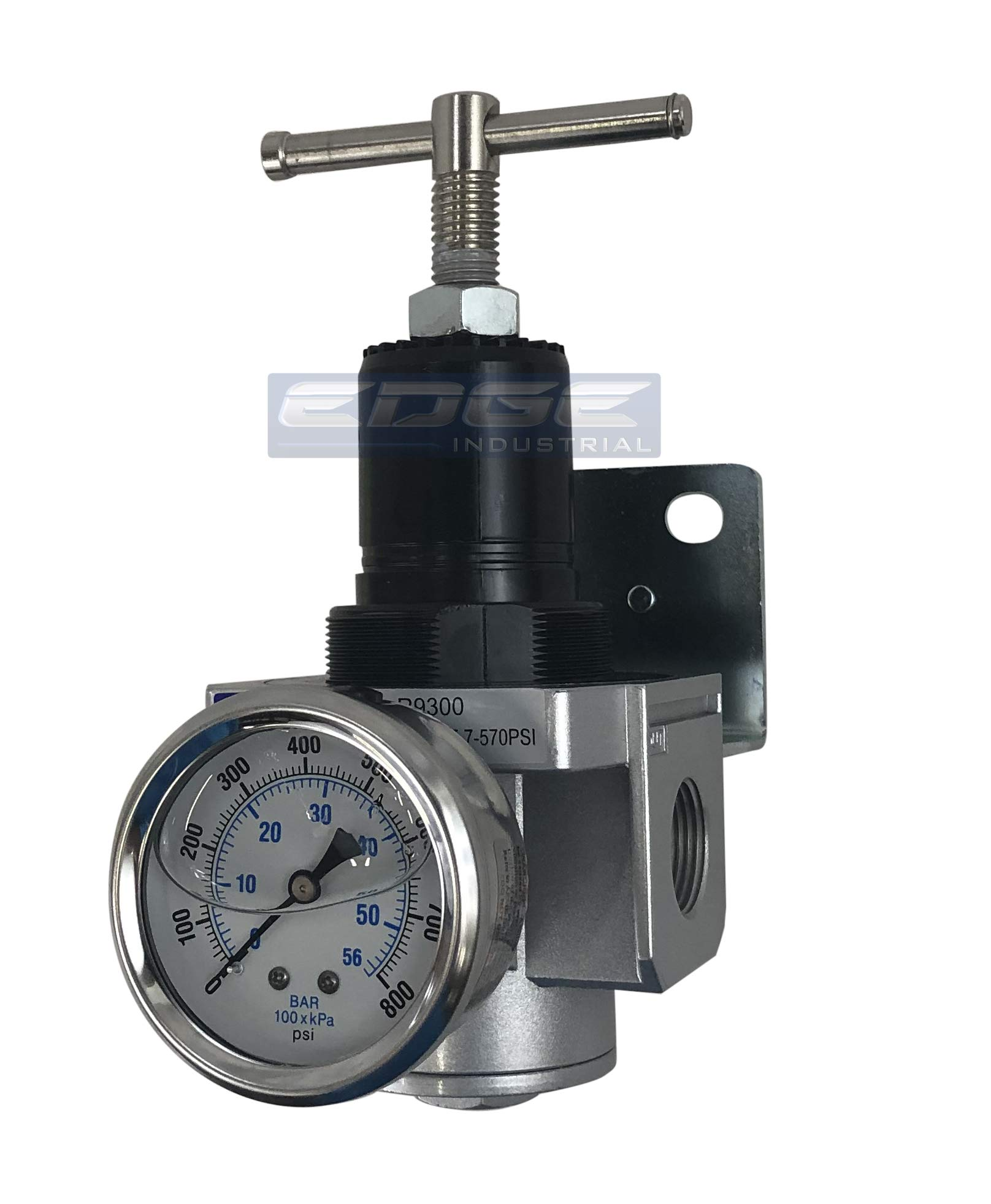 7 TO 570 PSI, 1'' NPT, HIGH PRESSURE INDUSTRIAL REGULATOR FOR AIR & INERT GAS, ADJUSTABLE FROM 7 THROUGH 570 PSI, HIGH FLOW RATE, T-HANDLE STYLE ADJUSTMENT WITH LIQUID FILLED PRESSURE GAUGE (1'' NPT) by EDGE INDUSTRIAL