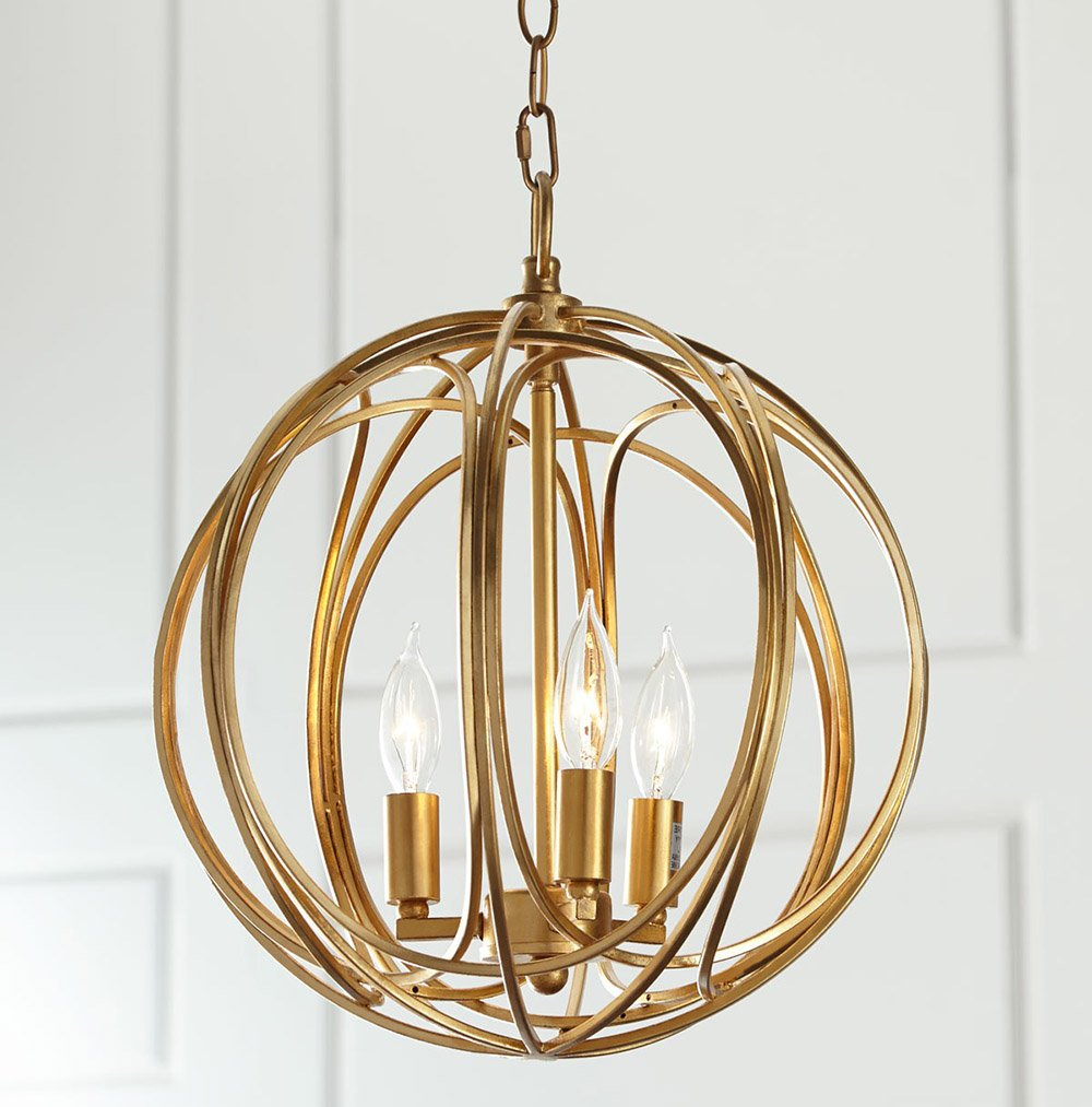 Docheer Wrought Iron Chandelier Ceiling Light Gold Industry Globe Chandelier Lighting Rustic Metal 3 Light Restaurant Bar Cafe Pendent Lights by Docheer