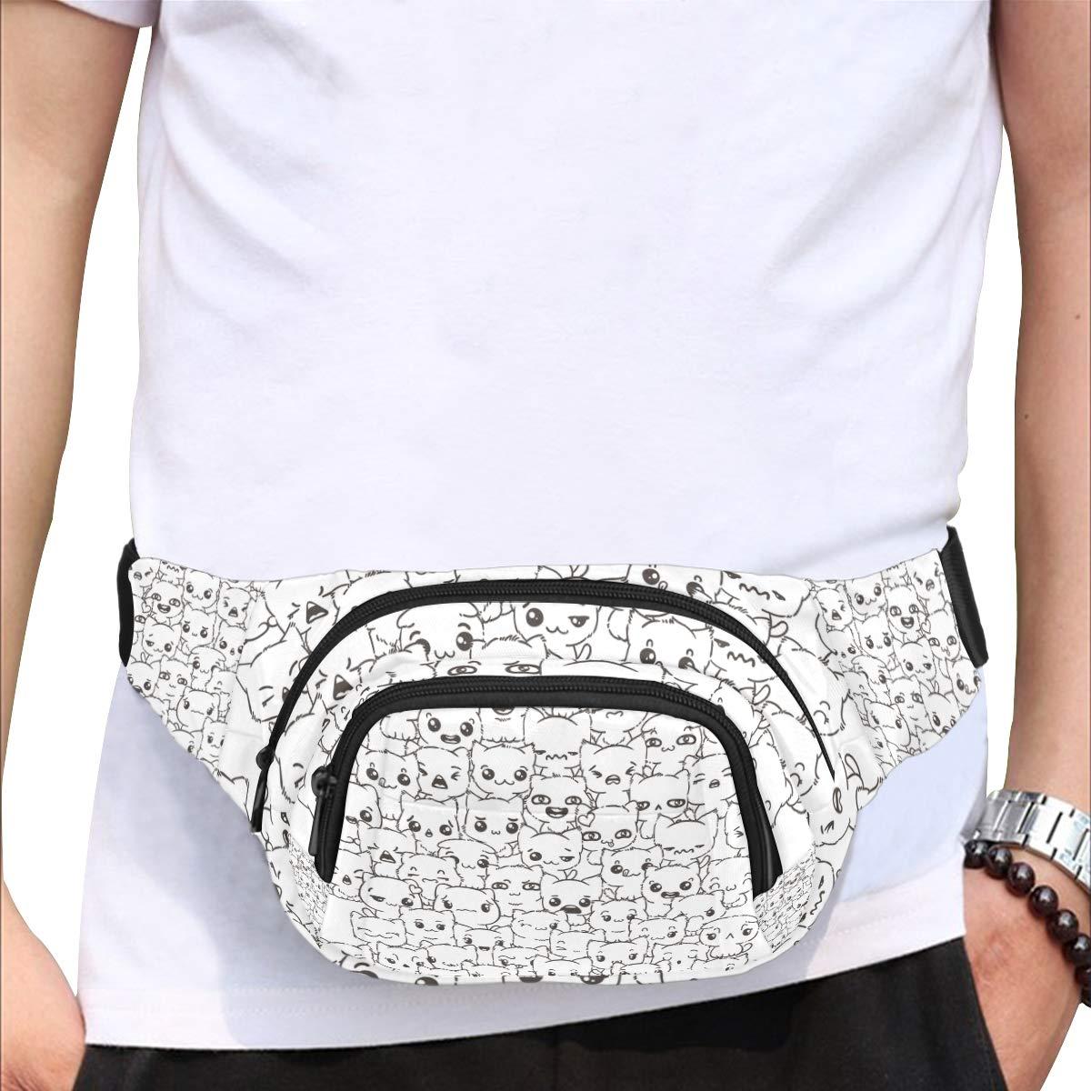 Cute Animal Doodle Art Balck And White Fenny Packs Waist Bags Adjustable Belt Waterproof Nylon Travel Running Sport Vacation Party For Men Women Boys Girls Kids