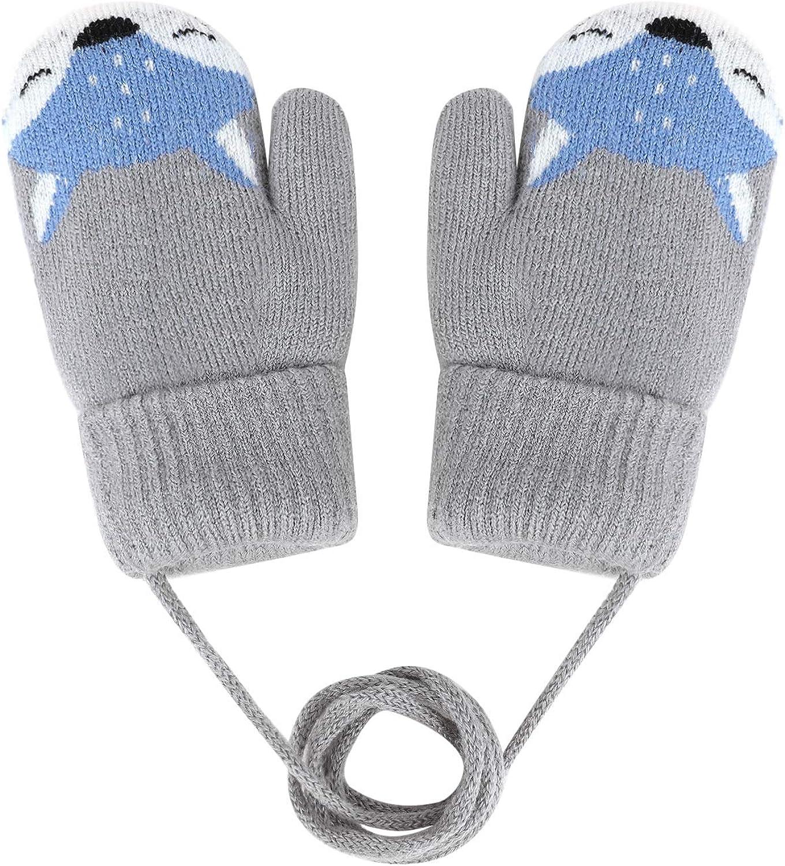 spessi per bambini dai 4 ai 10 anni FakeFace Graziosi guanti e muffole per bambini caldi design volpe giocare guanti caldi a doppio strato guanti invernali in lana neve invernali sci muffe