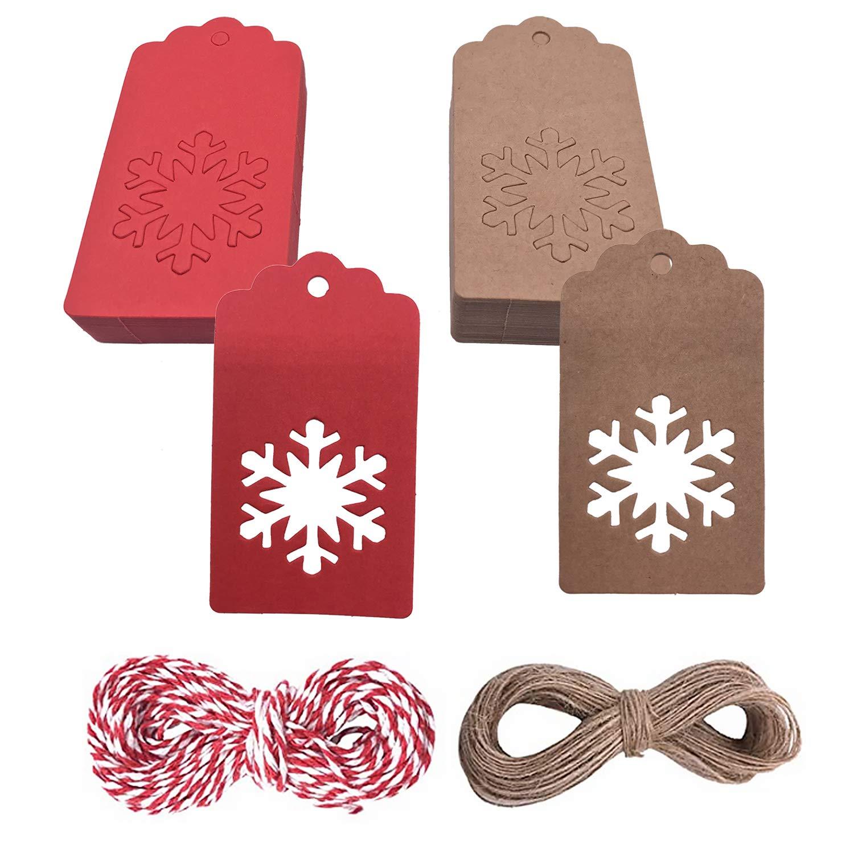 Christmas Kraft Gift Tags, 100 Pcs Xmas Kraft Gift Tags, DIY Gift Tags Hang Label Snowflake Shape Hanging Ornament, 50 PCS Red Tags + 50 PCS Brown Tags