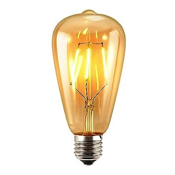 SUN RUN ST64 - Bombilla LED, 4 W, estilo vintage, rosca Edison, intensidad regulable, iluminación suave blanco 2700 K, E26, 4.00 W: Amazon.es: Hogar