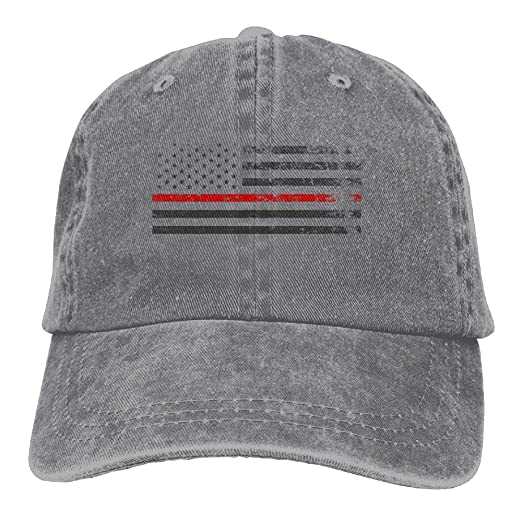 08ed33e8040 Red Line Fire Firefighter Men s Black Adjustable Vintage Washed Denim  Baseball Cap Dad Hat Trucker Cap at Amazon Men s Clothing store