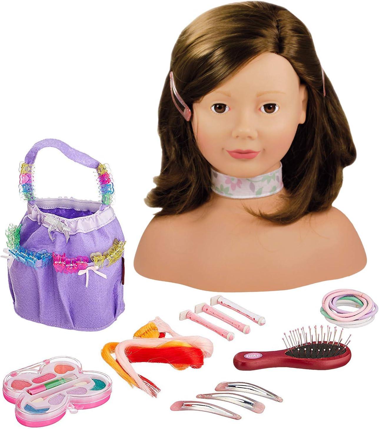 Gotz 1192053 Peluquín con Pelo marrón y Ojos Marrones - 28 cm Alta Cabezal de Maquillaje / Cabezal de Vestir - Juego de 58 Piezas - Adecuado para niñas a Partir de 3 años
