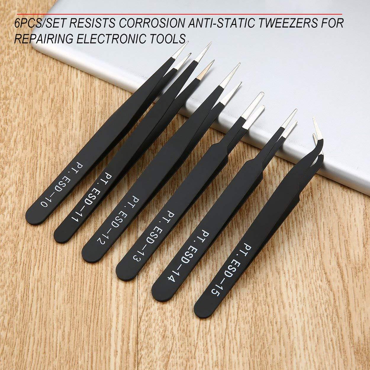 Lorenlli 6 St/ück//Set Tragbare Gr/ö/ße Best/ändig gegen Korrosion Antistatische Pinzetten zur Reparatur elektronischer Wartungswerkzeuge Schwarz