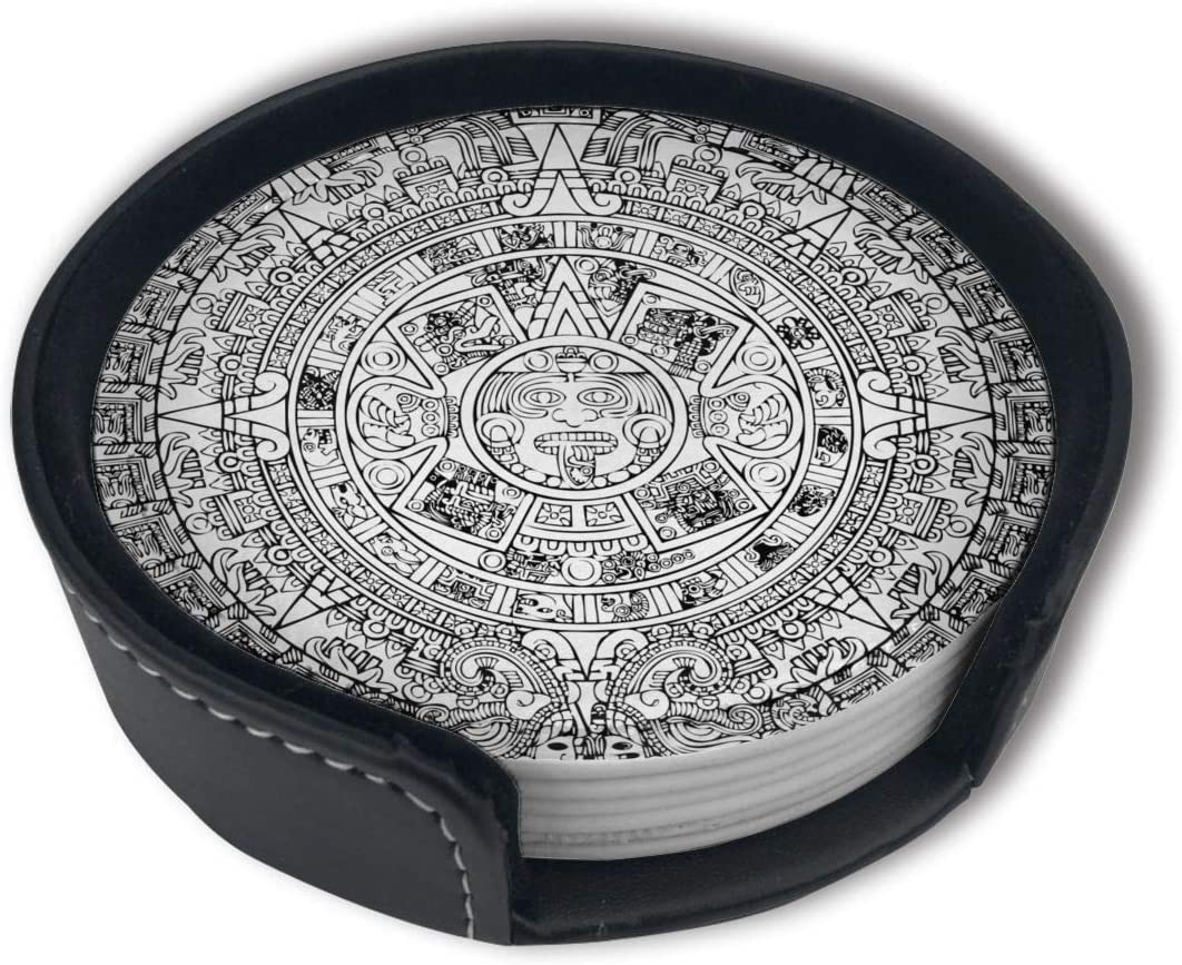 FUNCOOLCY Aztec Calendar Coasters for Drinks with Holder, Leather Coasters Set of 6, Round Cups Mugs Mat Pad for Home Kitchen