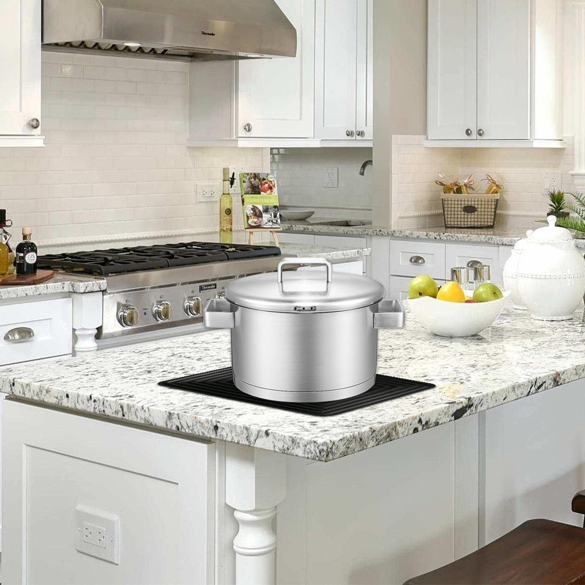 2 Pack,Silicone Trivet Mats/Hot Pads,Pot Holder,9''x12'' Non Slip Flexible Durable Heat Resistant Pot Coaster Kitchen Table Mats (Black) by LogHog (Image #2)