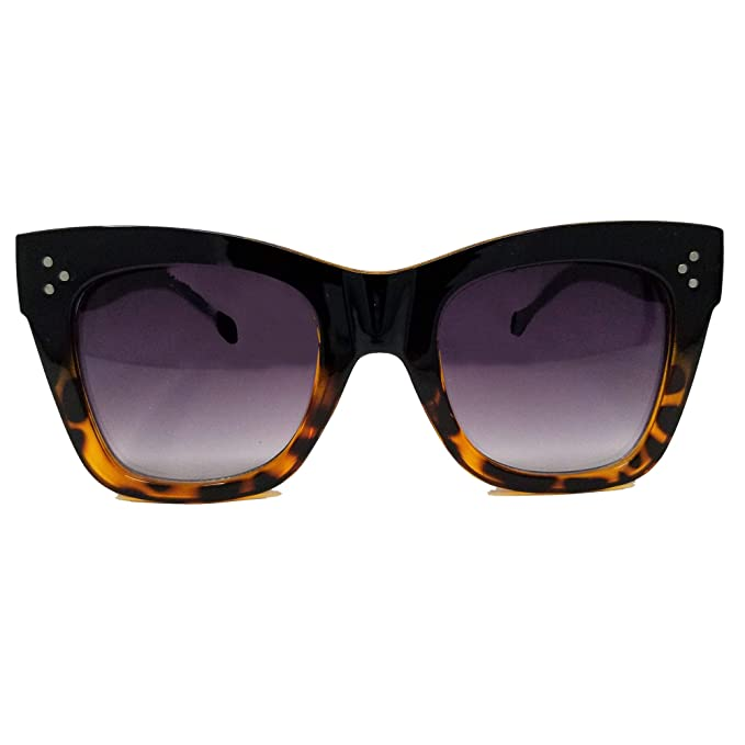 8dbb3a8c52dc3 Image Labs Chunky Cat Eye Horn Rimmed Sunglasses IL1024 (Black  Tortoise Black)