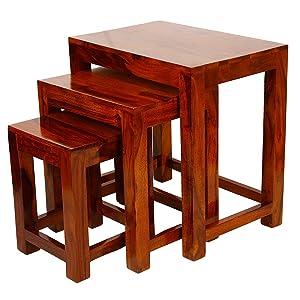 Shree Set of 3 Nesting Bedside Table/Wooden Stool/Sofa Table - Indian Sheesham Wood