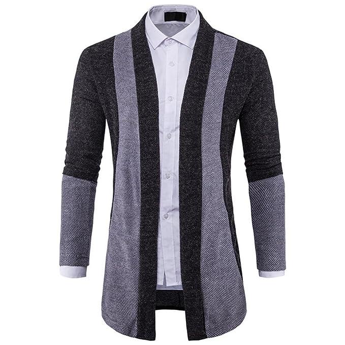 Vovotrade® Chaqueta para Hombre, Contraste Diseño Ajustado Encapuchado Suéter de Punto Moda Cárdigan Largo