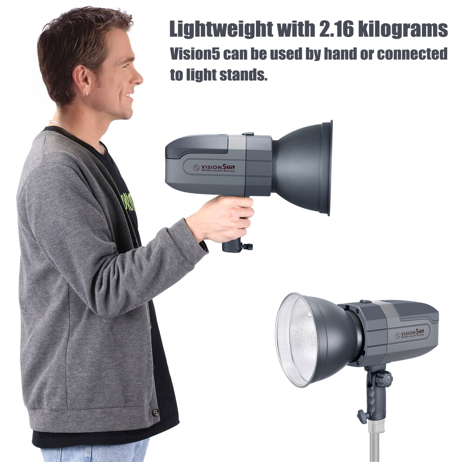Neewer Vision5 400W TTL for NIKON HSS Outdoor Studio Flash Strobe with 2.4G System and Wireless Trigger,2 Packs Li-ion Battery(up to 500 Full Power Flashes),German Engineered,3.96 Pounds,Bowens Mount by Neewer (Image #7)
