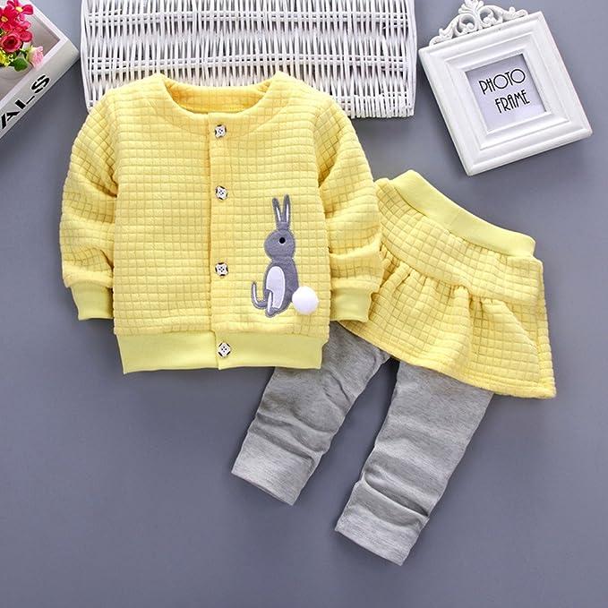 ❤ Conjunto de Invierno para bebé, 2 Piezas bebé Infantil bebé niñas Conejo Tops de la impresión Coat + Pants Outfits Clothes Set Absolute: Amazon.es: ...