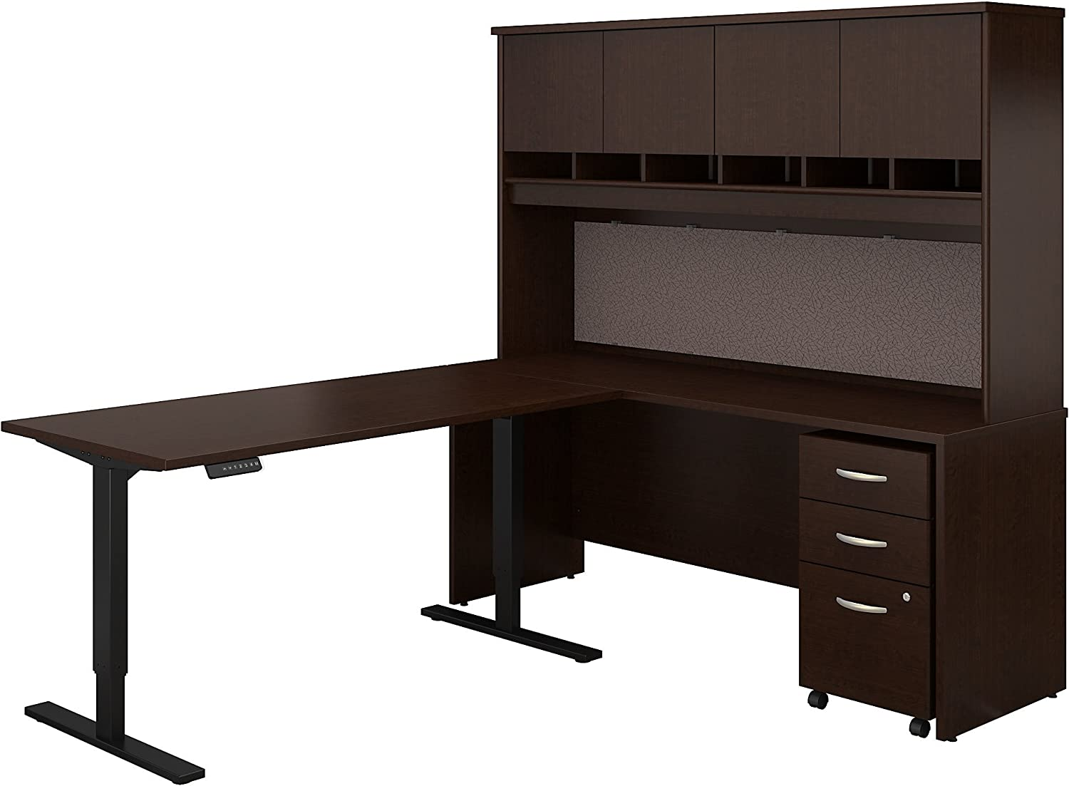 Bush Business Furniture Series C 72W L Shaped Desk with 60W Height Adjustable Return Hutch and Storage in Mocha Cherry