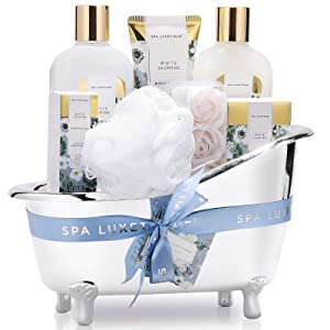 Spa Luxetique Spa Gift Baskets for Women, White Jasmine Home Bath Set, Bath and Body Gift Set for Women, 8 Pcs Bath Gift Basket Includes Bath Salt, Essential Oil, Spa Gifts for Women.
