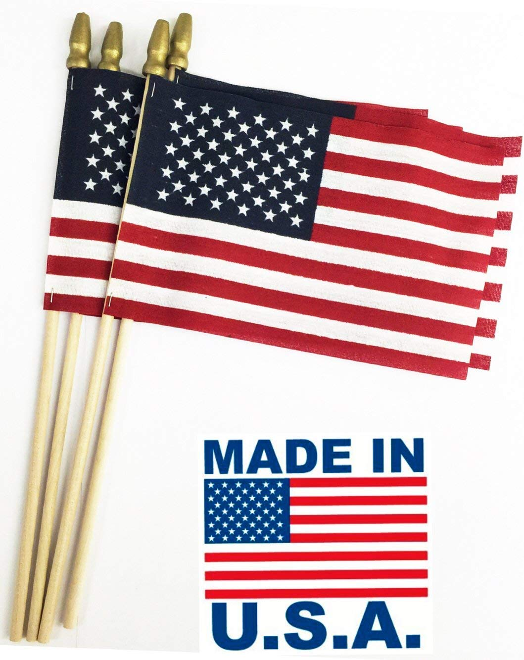 GIFTEXPRESS Set of 12, Proudly Made in U.S.A. Small American Flags 4x6 Inch/Small US Flag/Mini American Stick Flag/American Hand Held Stick Flags Spear Top