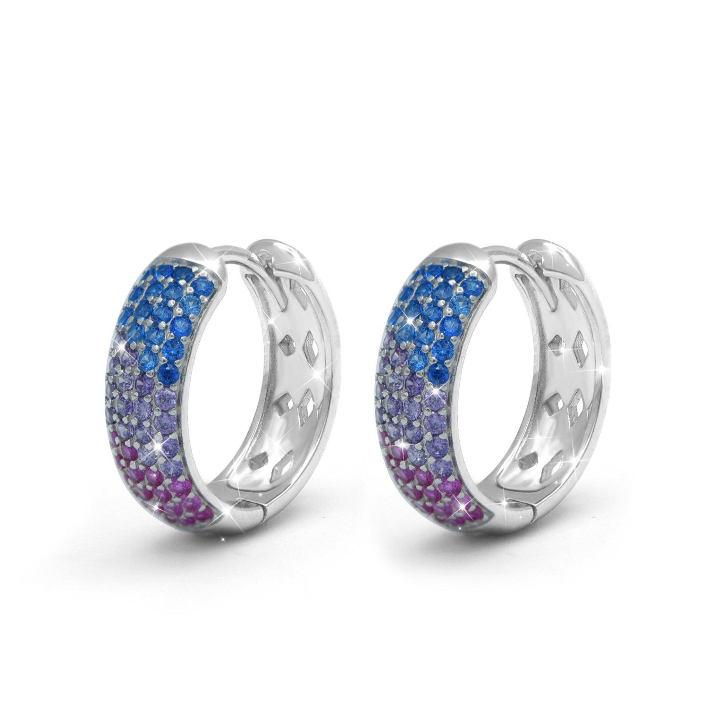 Hypoallergenic Sterling Silver Multi Color Cubic Zirconia Ear Clip On Hinged Huggie Hoop Earrings for Women (Crystal Huggie)