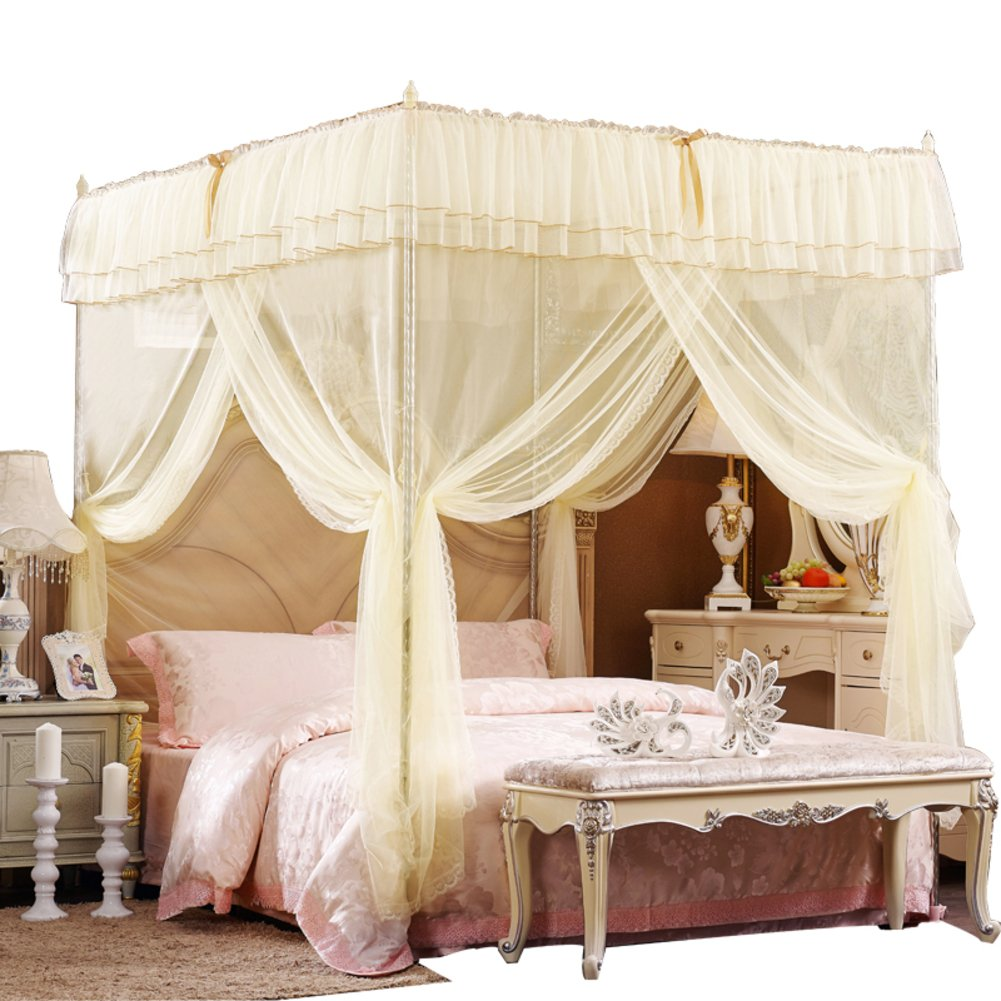 Four corner princess wind mosquito net bed canopy, Three-door opener Stand landing Court Double Home mosquito-curtain-A 180x220cm(71x87inch)