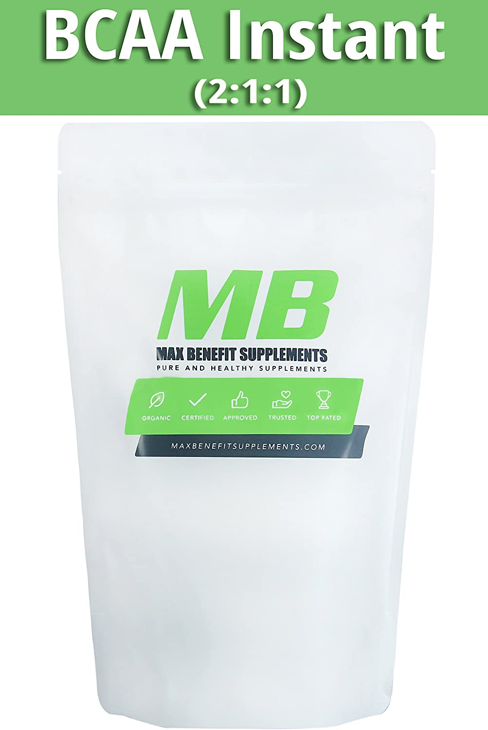 MaxbenefitSupplements 100% Pure BCAA Instant 2:1:1 - Pre/Post Workout Bodybuilding Supplement to Boost Muscle Growth 1000gm - 600 Servings