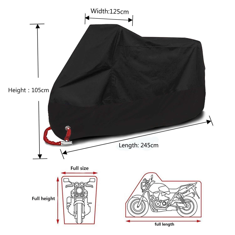 Funda para Moto Impermeable Funda para Motocicleta Exterior Funda Protectora Motocicleta 190T Cubierta Protectora UV Con 2 Orificios de Bloqueo