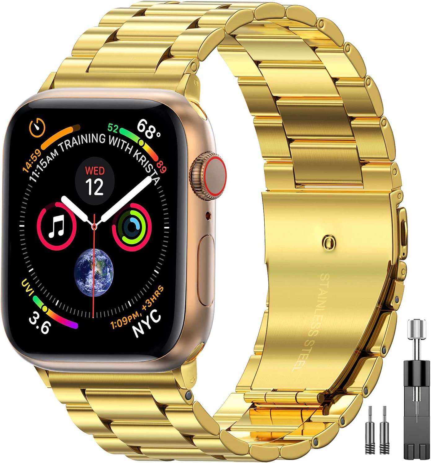 EPULY Compatible with Apple Watch Band 42mm 44mm 38mm 40mm ,Business Stainless Steel Metal Wristband for iWatch SE Series 6/5/4/3/2/1 (Gold, 38mm/40mm)