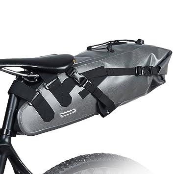 10L Bolsa de Sillín Enrollable de Bicicleta Montaña Bici Mochila Alforja Impermeable Asiento de Ciclismo en Forma de Cuña con Correa Tija o Asiento Tresero ...