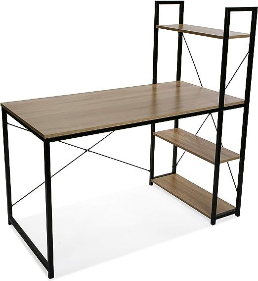 Versa 21710001 Mesa Escritorio con estantería 3 baldas OMA, Madera y Metal, marrón y Negro, 120 x 64 x 120 cm: Amazon.es: Juguetes y juegos