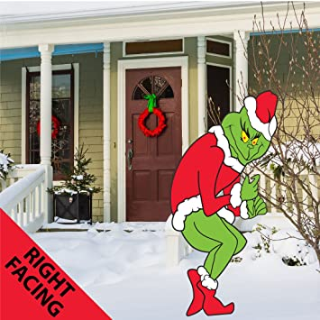 Grinch Stealing Christmas Lights Yard Art Funny Lawn Decoration   Right
