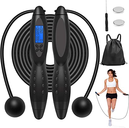 Digital LCD Jumping Skipping Rope Calorie Count Counter Timer Adult Kid Fitness