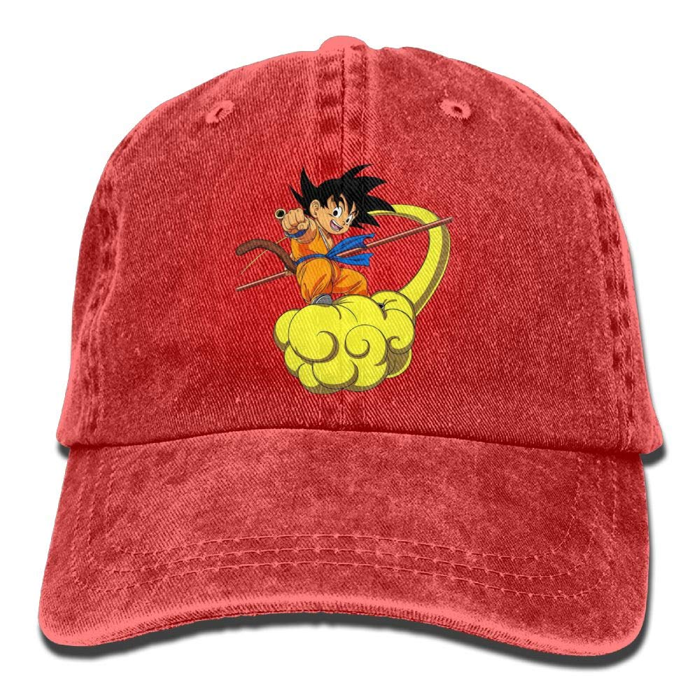 Amazon.com  Strividialous Mens and Momen Unisex Dragon Ball Z Goku  Adjustable Casual Style Washed Dyed Cotton Adjustable Baseball Cap Dad Hat  Red  Sports   ... 8fe6ab9dc18