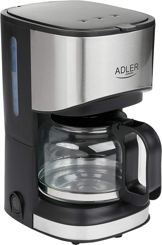 Adler AD-4407 Cafetera de Goteo 8 Tazas, Acero Inoxidable, Libre de BPA, 550W, 550 W, 0.7 litros, negro y gris: Amazon.es: Hogar