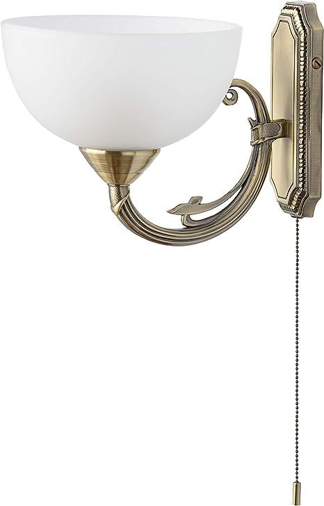 Wandstrahler mit Schalter Messing matt Wofi-Leuchten Glas