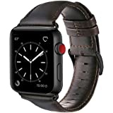 For Apple Watch Band 42mm, OUHENG Retro Vintage Genuine Leather iWatch Strap Replacement for Apple Watch Series 3 Series 2 Series 1 Sport and Edition, Brownish Black with Black Adapter