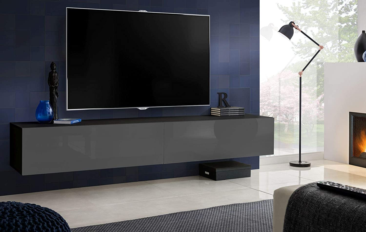 Carcass in White Matt//Front in Black High Gloss ExtremeFurniture T34-200cm TV Wall Cabinet