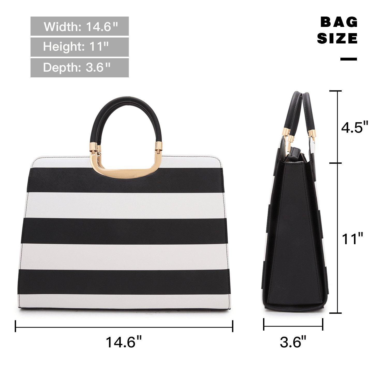 Dasein Designer Purse Stripes Satchel Handbag PU Leather Purse Top Handle Handbags (XL2828 stripe 2PCs- Black/White) by Dasein (Image #4)