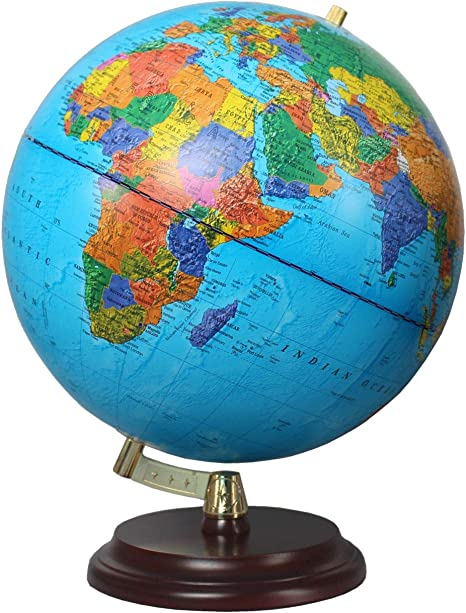 Globo con pie de Madera marr/ón Rojizo Escala 1:40.000.000 Mapa pol/ítico 32 cm Globo Magallanes Vasa con Mapa pol/ítico o Laminado a Mano Independiente sin meridiano de 32 cm de di/ámetro