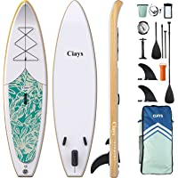 Ciays Inflatable Stand Up Paddle Board W SUP Accessories of Backpack, 2 Fins, 2 Bags, Leash, Floating Paddles and Double…