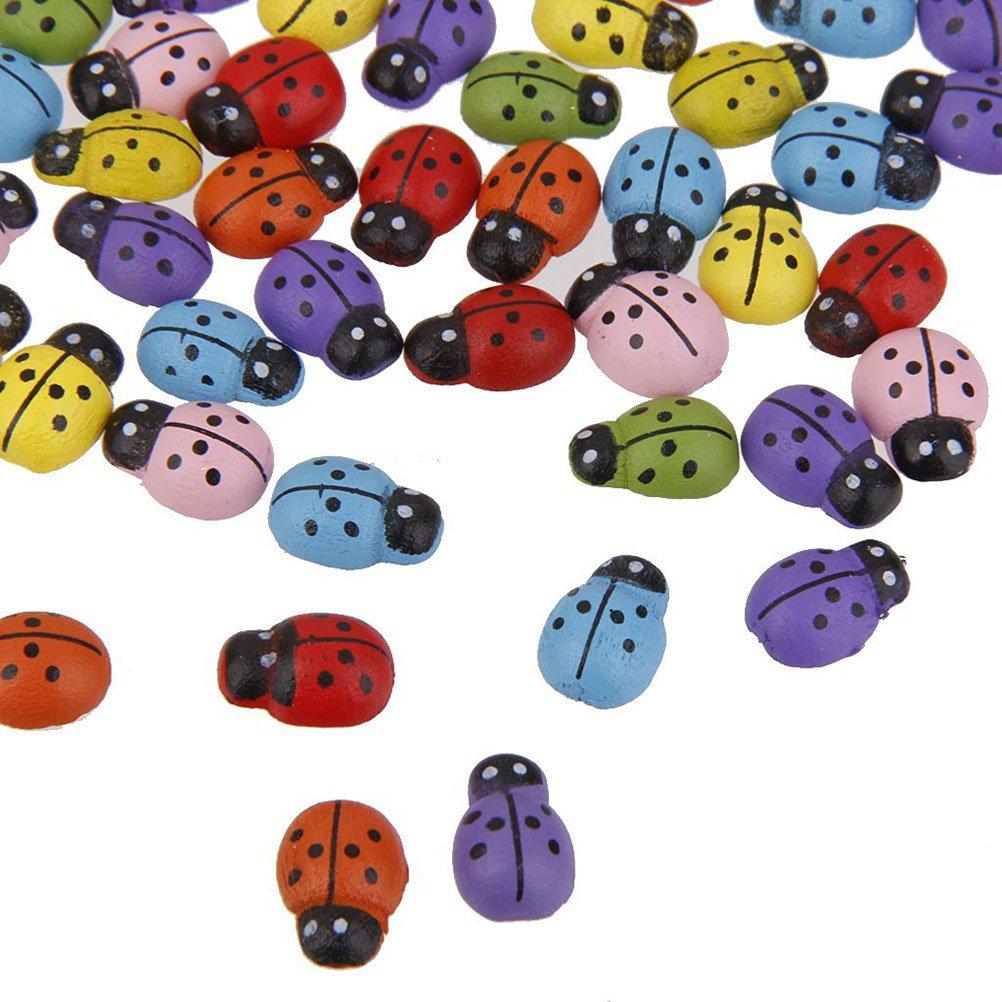 LIOOBO 200 unids Mini Mariquitas en Forma de Pegatinas Adorno en Miniatura Kit de Bricolaje para jard/ín casa Planta decoraci/ón Color Mezclado