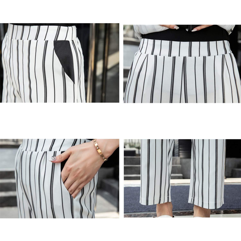 Bandage Striped Pant Suit for Women Blazer Jacket /& Elastic Waisted Pants Casual Suits Set
