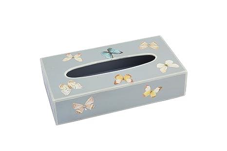 Fundashop FCPV26 - Caja cubre Kleenex, decoración en mariposas, madera, color gris