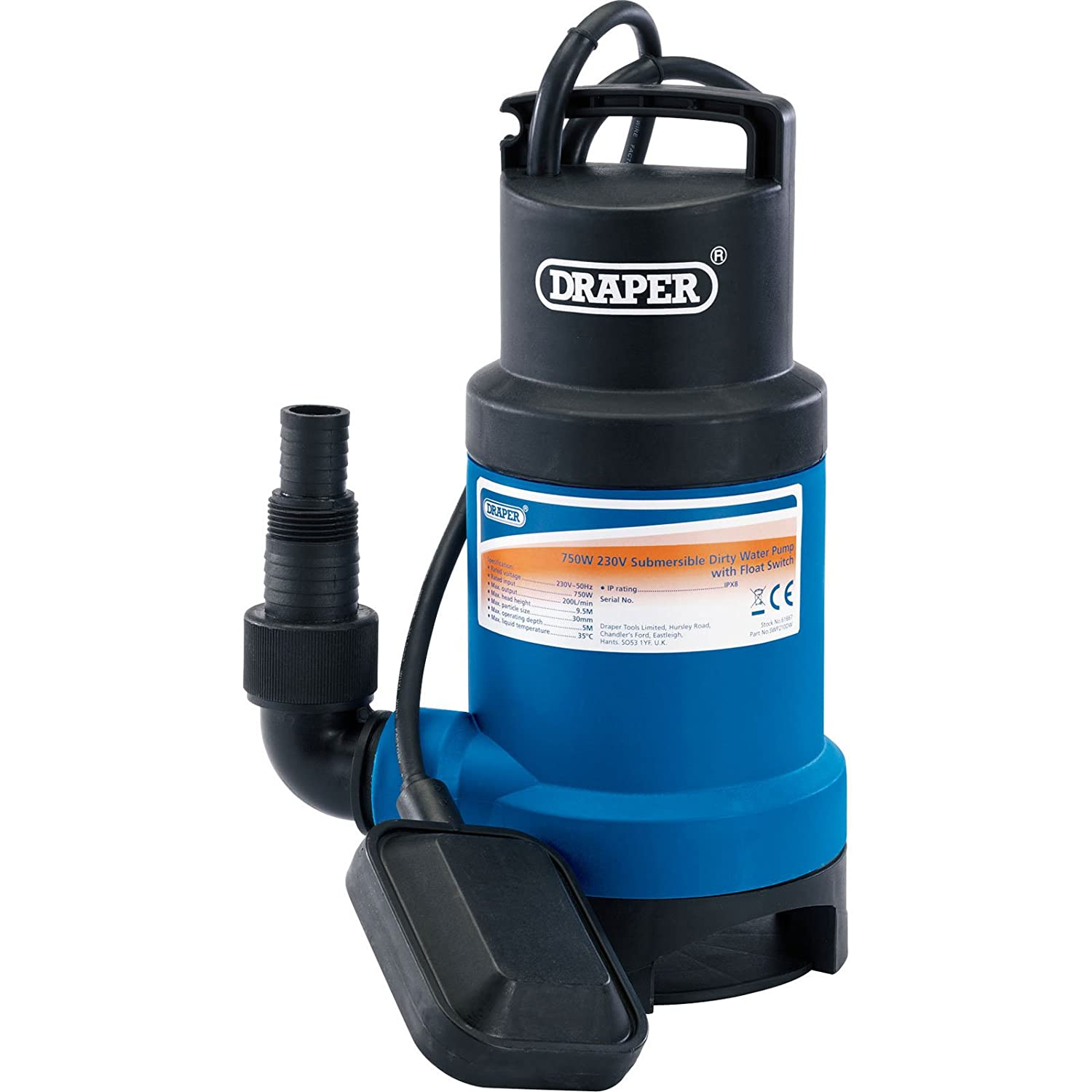 Draper 61668 Submersible Water Pump with Float Switch - Black/Blue 350W 108L/min SWP112 DRA61668 LAMP Power Tools TORPEDO Workshop Tools Other Workshop Tools