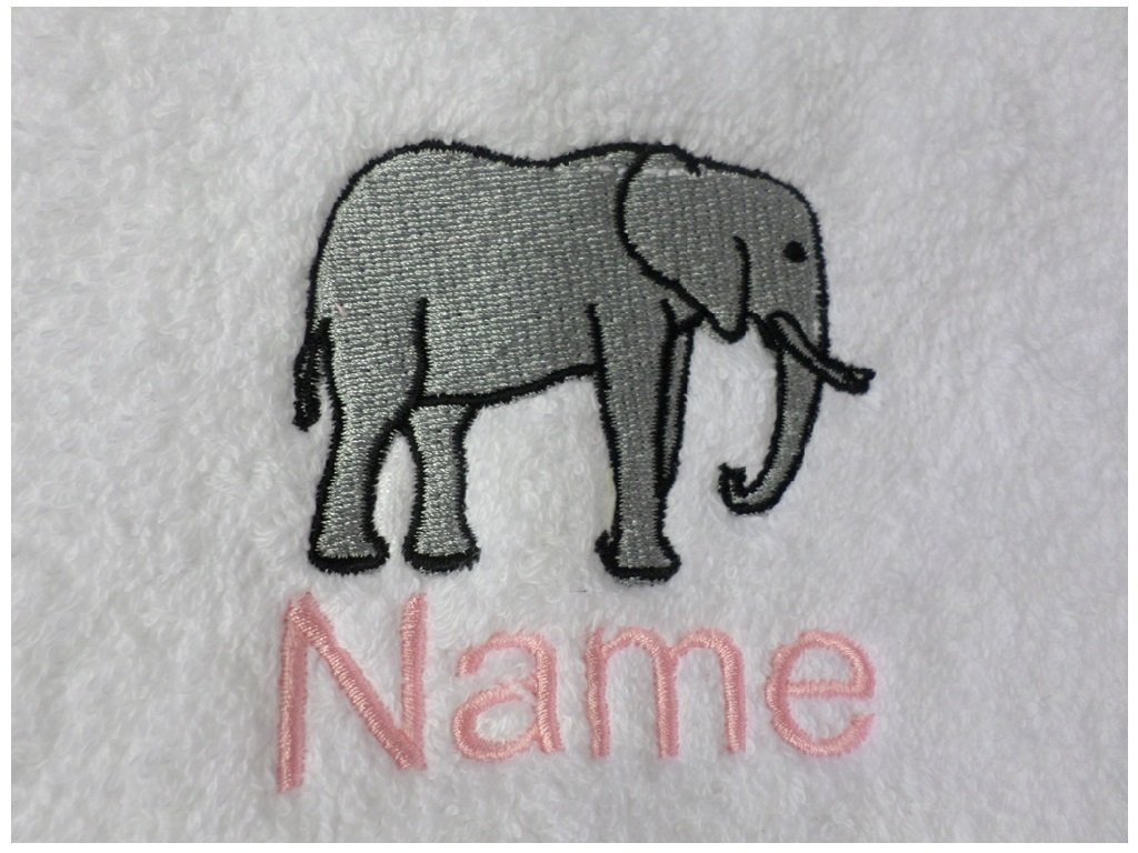 Face Cloth, Hand Towel, Bath Towel or Bath Sheet Personalised with ELEPHANT PROFILE logo and name of your choice (Face Cloth 30x30cm) EFY
