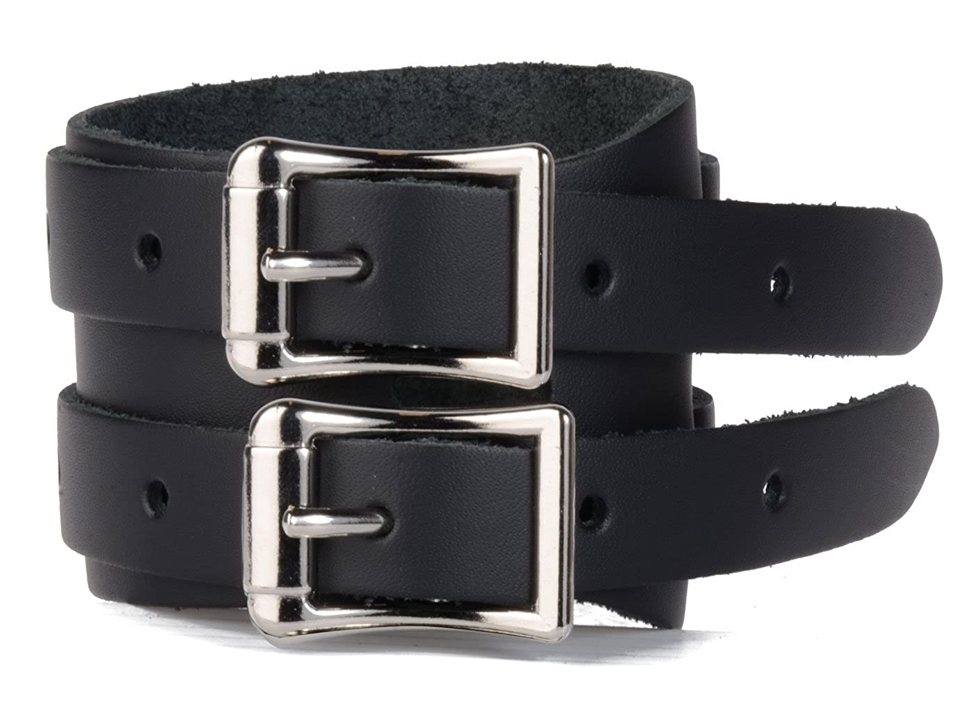 Rivithead Double Buckle wrap Around Leather Wristband