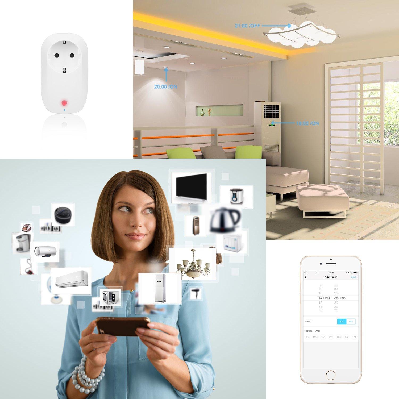 WiFi Smart Steckdose, Togather 3500W WLAN Smart Plug Steckdose funktioniert mit Amazon Alexa,Fernbedienung mit App Steuerung für IOS und Android