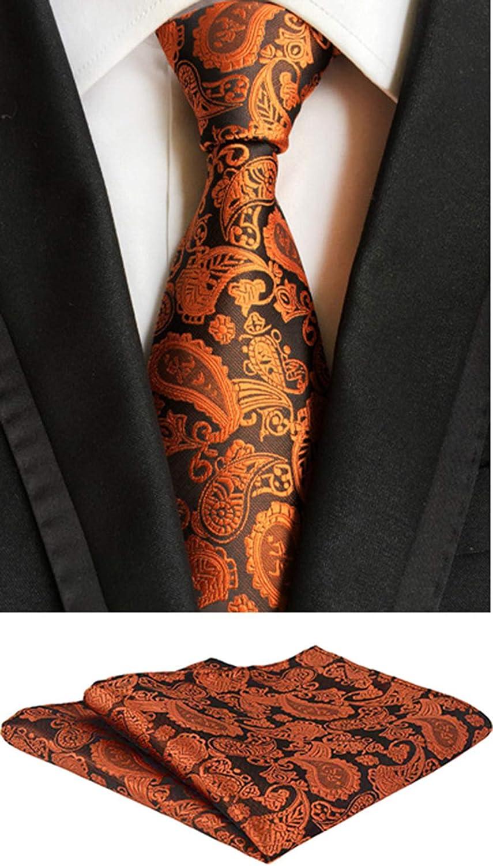 MOHSLEE Mens Striped Paisley Suit Tie Handky Wedding Necktie /& Pocket Square Set