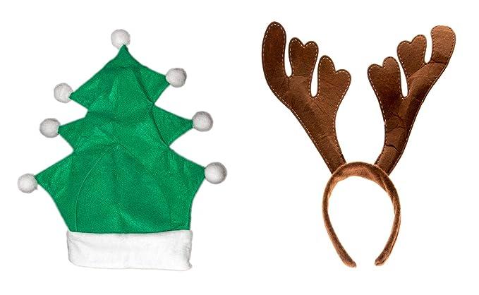 2 er Set mit Geweih Tannenbaum Weihnachtsbaum Kopf Weihnachtsmütze ...