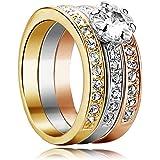 Yoursfs-Bague de fiançailles Femme Homme-3 en 1-18k plaqué Or et 0.5CT Diamant de synthèse-3 Alliances-Cadeau Anniversaire Mariage