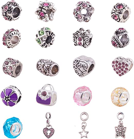 6pcs-gold tone enamel flower Charm w// Rhinestone-you pick the color