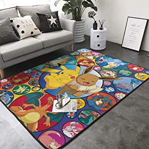 Poke-mon Ee-v-ee 2 Home Decoration Large Rug Floor Carpet Yoga Mat, Modern Area Rug for Children Kid Playroom Bedroom 36 x 24 inch